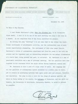 TLS Travis Bogard, UC Berkeley To Whom It May Concern. to December 29, 1970. RE: Thomas Parkinson&...