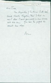 ALS B. H. Lehman to Thomas Parkinson, December 11, 1967. RE: Charlie Chaplin.: Benjamin Harrison ...