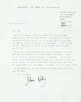 TLS John Kelly to Thomas Parkinson, February 1, 1974. RE: Yeats, Crane.: John Kelly (University of ...