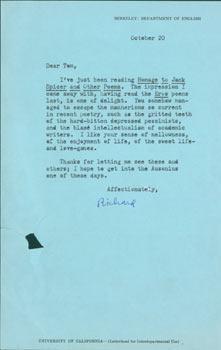 TLS Richard M. Bridgman to Thomas Parkinson, October 20, [1970]. RE: Homage To Jack Spicer And ...