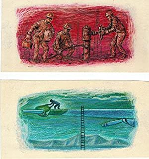 Four Original oil crayon drawings by Earl Thollander for the Standard Oil Bulletin.