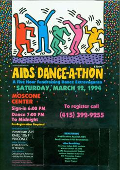 AIDS Dance-A-Thon. Saturday, March 12, 1994. Moscone Center. Benefitting Mobilization Against AID...