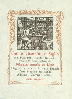 Business Card for Giulio Giannini E Figlio, Firenze (Florentine Bookbinder). Rilegatura Artistica...