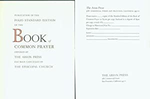 Publication Of the Folio Standard Edition of the Book Of Common Prayer Offered by the Arion Press...