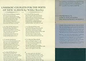 Unheroic Couplets For the Poets of New: Acorn Press; Wilder