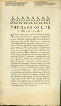 The Game Of Life by Thomas H. Huxley. Specimen No. 85, Laboratory Press. Students' Project (Carne...