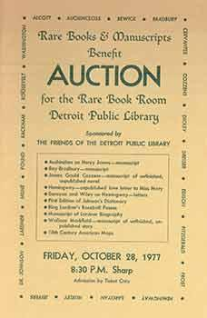 Rare Books & Manuscripts Benefit Auction for the Rare Book Room Detroit Public Library October 28...