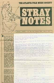 The Atlanta Folk Music Society: Stray Notes. Volume 1, Number 2, July 1, 1965.