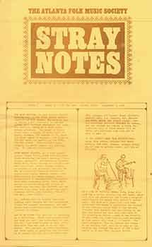 The Atlanta Folk Music Society: Stray Notes. Volume 1, Number 4, September 1, 1965.