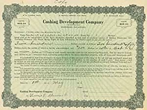 Certificate for purchase of oil well property in Oklahoma for $500.: Cushing Development Company.