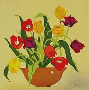 Floral Still Life in Yellow, Red and Purple.: Valerie, M.