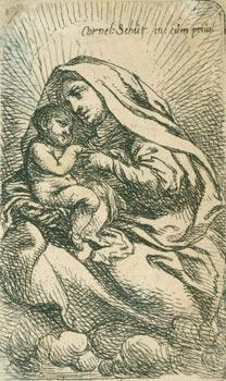Virgin & Child sitting on clouds, turned to left, the Virgin with a large headgear.