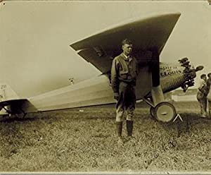Original photograph of Charles Lindbergh next to the Spirit of St. Louis. Signed.