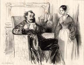 """482. Le Comte de T. et sa famille"""". Le Salon.: Gavarni."""