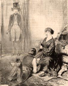 """Les Lorettes, no. 14. """"Valet de coeur et valet de trèfle: bataille."""": Gavarni."""