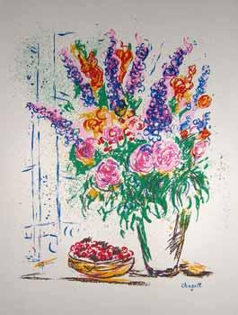 Still Life with Pink Flowers in a Vase.: Chagall, Marc.