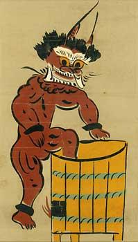 Oni the Goblin Bathing. (Oni no gyozui.): Otsu-e Artist.