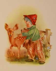 Boy Offering Treat to Doe (No. 1129): Burgess, Marion Bradford.