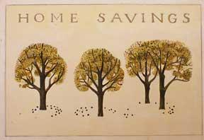 Trees. Design for entrance to Home Savings , Walnut Creek, CA (now Chase).