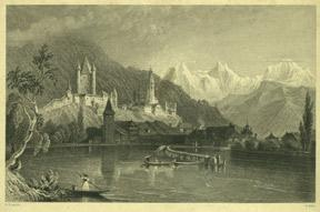 Thun with the Bernese Alps.: Bartlett, William Henry.