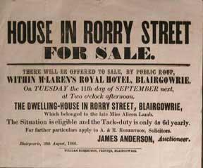 House in Rorry Street for Sale [original auction poster].