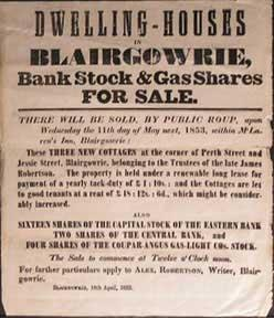 Dwelling-House, Bank Stock & Gas Shares for Sale. Blairgowrie [original auction poster].