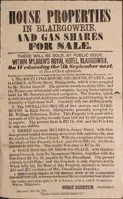 House Properties and Gas Shares for Sale. Blairgowrie [original auction poster].