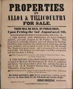 Properties in Alloa & Tillicoultry for Sale [original auction poster].