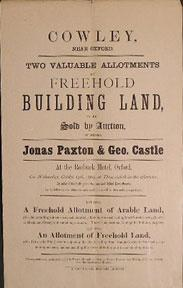 Two Valuable Allotments of Freehold Building Land. Cowley near Oxford [original auction poster].