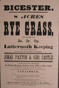 8 Acres of Rye Grass and Lattermath Keeping. Bicester [original auction poster].