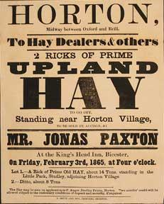 2 Ricks of Prime Upland Hay. Horton, midway between Oxford and Brill [original auction poster].