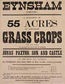 A Catalogue of 55 Acres of Luxuriant Grass Crops. Eynsham, Oxom [original auction poster].