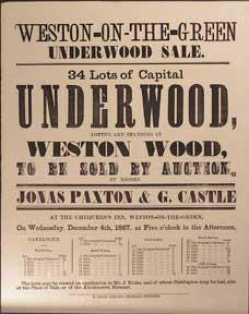 34 Lots of Capital Underwood. Weston Wood, Weston-on-the-green [original auction poster].
