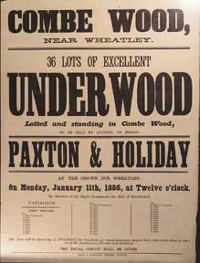 36 Lots of Excellent Underwood. Combe Wood, near Wheatley [original auction poster].