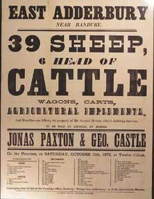 39 Sheep, 6 Head of Cattle, Wagons, Carts, Agricultural Implements. East Adderbury, near Banbury ...