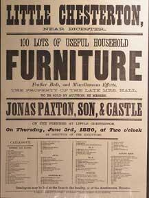100 Lots of Useful Household Furniture. Little Chesterton, near Bicester [original auction poster].