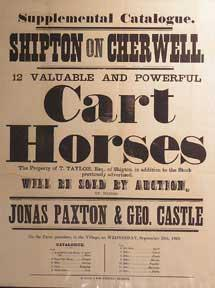 12 Valuable and Powerful Cart Horses. Shipton on Cherwell [original auction poster].