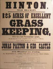 125 Acres of Excellent Grass Keeping. Hinton near Brackley [original auction poster].