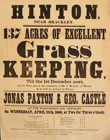 137 Acres of Excellent Grass Keeping. Hinton, near Brackley [original auction poster].