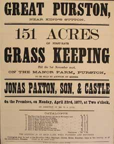 151 Acres of First-Rate Grass Keeping. Great Purston, near King's Sutton [original auction poster].