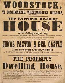 The Excellent Dwelling House with Cottage Adjoining. Woodstock [original auction poster].