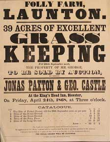 39 Acres of Excellent Grass Keeping. Folly Farm, Launton [original auction poster].