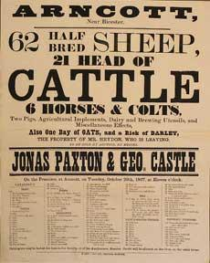 62 Half Bred Sheep, 21 Head of Cattle, 6 Horses and Colts. Arncott, near Bicester [original aucti...