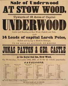 Upwards of 18 Acres of Capital Underwood. Stow Wood [original auction poster].