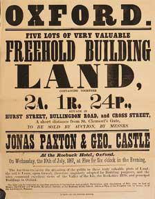 Five Lots of Very Valuable Freehold Building Land. Hurst Street, Bullingdon Road, and Cross Street,...
