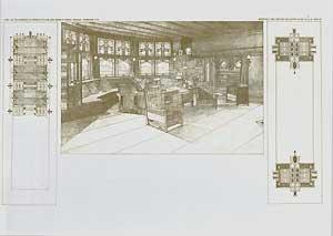 Living-room in the residence of Harley Bradley, Kankahee, Illinois, 1900. Pl. XXII.: Wright, Frank ...