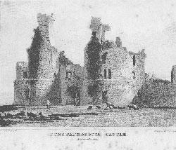 Dunstanborough Castle, Northumberland.: Woolnoth after Shepherd.