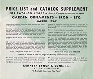 Price List and Catalog Supplement for Catalog #2066: Garden Ornaments, Iron, Etc. March 1967.