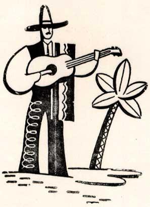 Mexican guitar player wearing a 10-gallon hat: Letterpress Metal Cut