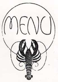Menu. (Header of a menu with lobster).: Letterpress Metal Cut Artist.
